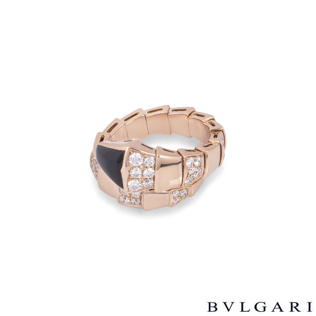 Bvlgari Rose Gold Diamond & Onyx Serpenti Ring